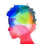 Abstract colorful head